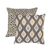 Pillow Perfect Damask and Rodrigo 16.5-Inch Throw Pillows Graphite Set of 2