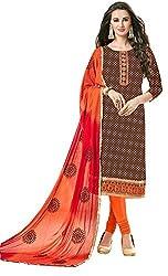 Clickedia Women's Bombay Cotton Embroidered Brown & Orange Salwaar Suit Dupatta - Dress Material
