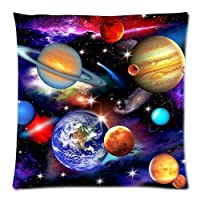 "Universe Solar System Planets Earth Galaxy Nebula Print Custom Zippered Pillow Cushion Case Throw Pillow Covers 18""x18""(two sides) from MayLucky"