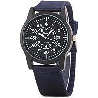 UQ Unisex Simple Fashion Analog Quartz Watch With Calendar Violet Canvas Bracelet With Black Dial