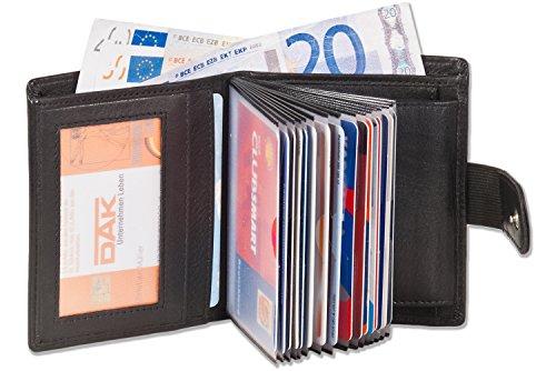 Portafoglio super-compatto con XXL carte di credito per 18 carte in pelle naturale con nero - Platino