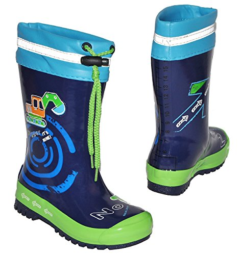 Gummistiefel-Bagger-Auto-mit-Reflektor-zum-Schnren-Gre-20-fr-Kinder-Jungen-Naturkautschuk-Innenfutter-Baumwolle-Regenstiefel-Handbemalt-mit-3-D-Effekt-Fahrzeuge-blau-Schnrung