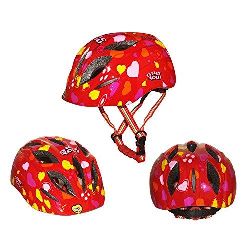 G-i-Mall Casco Bici Bambino 10 Vents 52-57 centimetri Casco da bicicletta Skateboard Skate Scooter Caschi per bambini con rivestimento del rilievo - Rosso