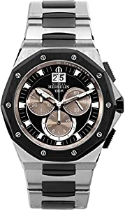 Michel Herbelin Odyssee Chrono Men's Quartz Watch with Black Dial Chronograph Display and Silver Stainless Steel Bracelet 36631/BNA47