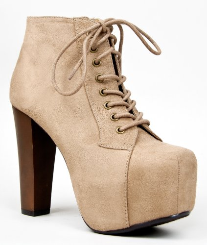 Speed Limit 98 ROSA Designer Inspired Lita Style Chunky High Heel Lace Up Ankle Boot Bootie