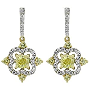 1.50 CT. TW. Radiant Cushion Natural Fancy Yellow Diamond Two Tone 14KT Gold Dangle Earrings