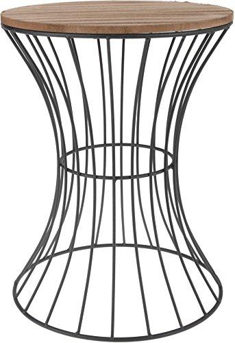 Designer-Beistelltisch-aus-Metall-mit-Holz-Tischplatte-dekorativer-Tisch-mit-geschwungenem-Metallgestell