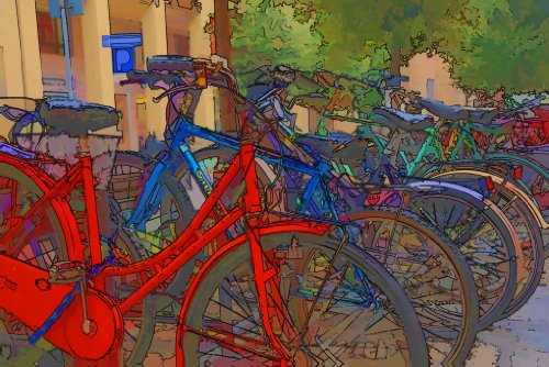 Green Frog Art Canvas Gallery Wrapped Art, Bicycles - 1