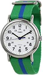 "Timex Unisex T2P1439J ""Weekender"" Green and Blue Nylon Strap Watch"