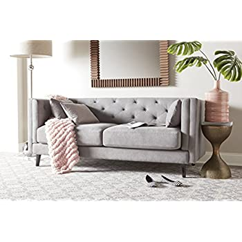 Elle Decor Celeste Tufted Sofa, Velvet, Pearl