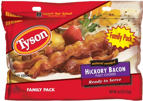 Tyson Fully Cooked Bacon, Family Pack, 4.4-Ounce (Pack of 2)