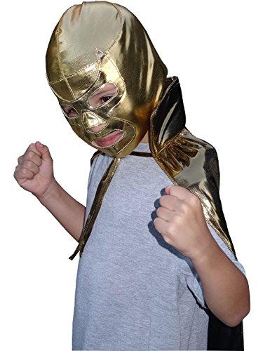 [RAMSES JR Lucha Libre Wrestling Mask & Cape Halloween Costume Set - Gold] (Quick Halloween Costume Ideas For Boys)