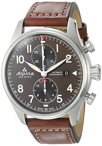 Alpina-Mens-STARTIMER-PILOT-Automatic-Stainless-Steel-and-Leather-Casual-Watch-ColorBrown-Model-AL-725GR4S6