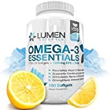 Omega 3 Essentials Fish Oi Capsules are Shown to Support Immune System, Assist Brain Health, Manage Cholesterol levels & Strengthen Bones - 1290 EPA DHA Fatty Acids - 180 Lemon Flavor Softgel Supplements