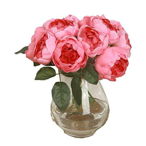 Mandy 1 pcs 6 Heads Artificial Peony Silk Flower Leaf Home Decor (Hot Pink)