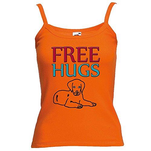 Divertente 058, Free Hugs, Arancio Fruit of the Loom Women Strap Tee Cotone Top e Canotte Spalline Donna con Design Colorato. Taglia M.
