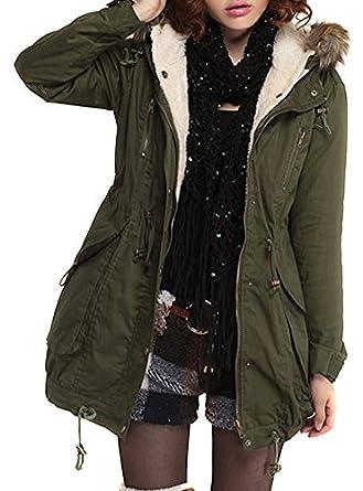VonFon Womens Winter Warm Thicken Fleece Jacket Hooded