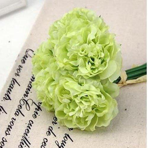 Green Wedding Rose Peony Silk Flowers Bouquet Single Arrangements Artificial Decor (Single Aerosol Can Holder compare prices)