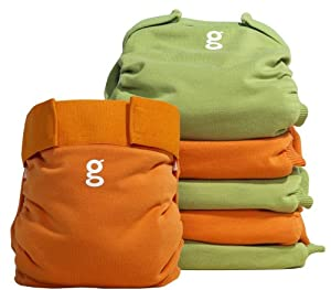 Gnappies Little Gpants Everyday G's Great Orange & Green - Large Reuseable Nappies -6-Pack