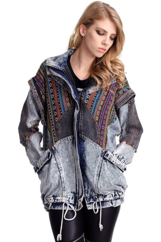 Sheinside Women's Blue Oversized Aztec Denim Acid Wash Coat