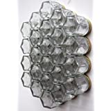 "DIY HEX 24 GOLD: Magnetic Spice Rack (Includes 24 EMPTY Hexagonal Glass Jars, Magnetic Gold Lids And Clear 1""..."