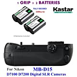 Kastar Pro Multi-Power Vertical Battery Grip (Replacement for MB-D15) + 2x EN-EL15 Replacement Batteries for Nikon D7100 D7200 Digital SLR Cameras