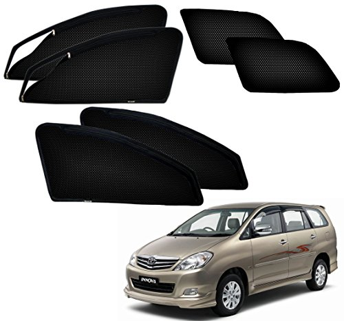 Autopearl – Premium Quality Zipper Magnetic Sun Shades Car Curtain For – Toyota Innova – Set Of 6 Pcs