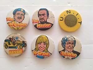 Dr Doctor Who Vintage 1971 Complete Set Of 6 Kelloggs Sugar Smacks Badges