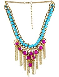 Fashionlodgge Imitation Jewellery Blue & Pink Pearl With Golden Color Chain Set