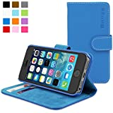 Snugg® iPhone 5 / 5s Case - Leather Flip Case with Lifetime Guarantee (Electric Blue) for Apple iPhone 5 / 5s