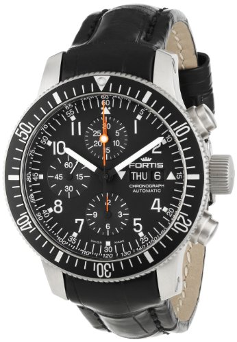 Fortis Men's 638.10.11 LC B-42 Official Cosmonauts Black Automatic Chronograph Date Watch
