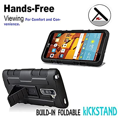 LG G Stylos 2 Case, Starshop [Heavy Duty] Full Protection Dual Layers Hybird Case with Kickstand and Locking Belt Swivel Clip by STARSHOP