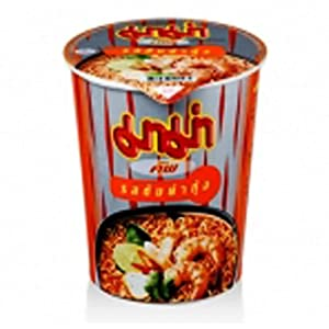 Mama Thai Noodles in a Cup semi instant - spicy shrimp soup 180g Food Free Shipping (spicy shrimp soup) bowl pack of 3 by mama-Noodle Cup semi-spicy shrimp soup