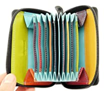 Neptune Giftware Ladies Super Soft Real Black Leather Credit Card Holder / Wallet & Coin Purse / Section - Zips Up Fully - Holds 9 Credit Cards