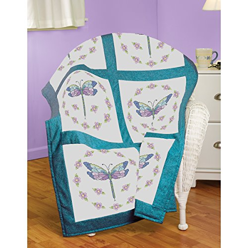 Janlynn Dragonfly Quilt Block Stamped Cross Stitch, 18 by 18-Inch, 6-Pack