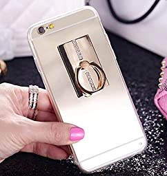 Superstart Luxury Bling Slim Soft TPU Glass Mirro Case Cover for Samsung Note 4 Inch with 360 Degree Rotating Stand-Gold