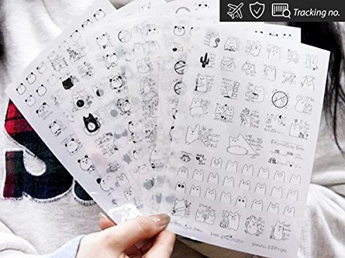 cat-and-panda-funny-time-stickers-for-diary-day-planner-organizer-6-sheets