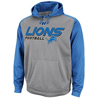NFL Mens Detroit Lions Gridiron IV Ath Gray Marled Sport Blue Long Sleeve Hooded... by VF LSG
