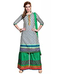 Beige ,Blue Cotton Resham With Patch Patti Dress Material