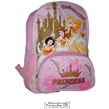 Disney Princess Backpack in Pink and a Glittery Sparkly Golden Castle with Crowns Fancy Dresses