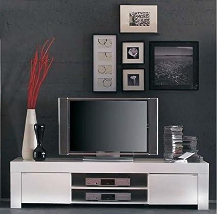 MOBILE PORTA TV MODERNO IN LEGNO BIANCO LUCIDO
