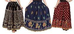 Archiecs Creations Self Design Women's Regular Cotton Skirts Combo (Set of 3)