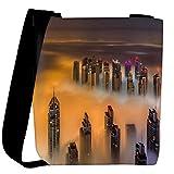 Snoogg Smoky View Of Building Designer Womens Carry Around Cross Body Tote Handbag Sling Bags
