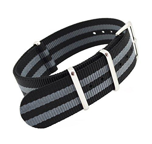 MetaStrap 22mm Nylon Strap Zulu Watch Band with Black&Grey Striped Style
