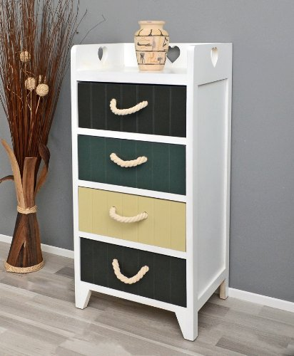 White chest of 4 drawers in brown, beige and grey color for the bathroom kitchen and nursery