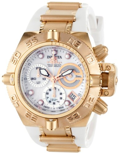 Invicta Women's 0537 Subaqua Noma IV Collection Chronograph 18k Rose GoldPlated Stainless Steel and White Polyurethane Watch