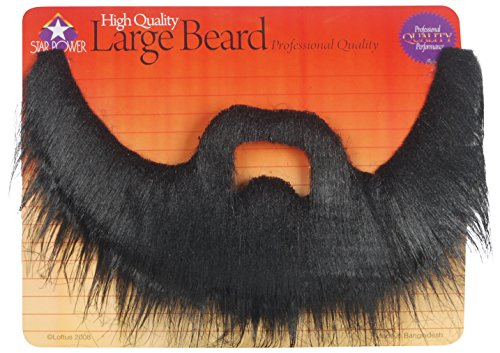 Professional Quality Long Shaggy Beard & Mustache Set Black One Size