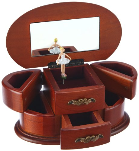 MusicBox Kingdom 16066 Wooden Ballerina Musical Jewelry Box, Playing