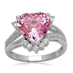 Sterling Silver Heart Created Pink Sapphire with Round Created White Sapphire and Diamond Ring from Amazon Curated Collection