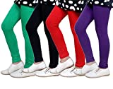 Indistar Girls Super Soft Cotton Leggings (Set of -4)